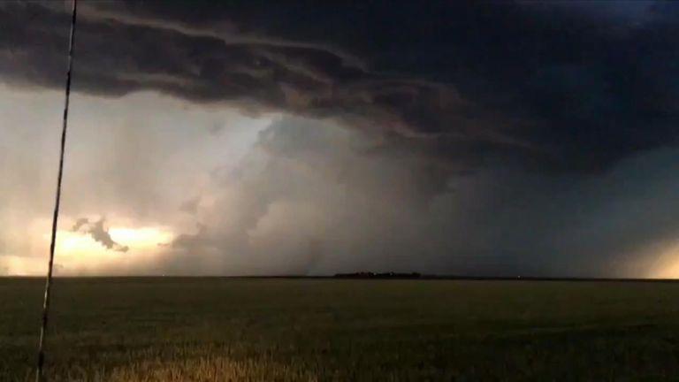 Lightning strikes over Colorado