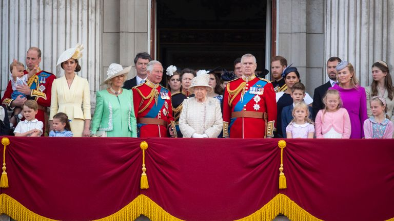 The Queen and other members of the royal family, including Meghan, on the balcony of Buckingham Place to acknowledge the crowd after the Trooping the Colour ceremony