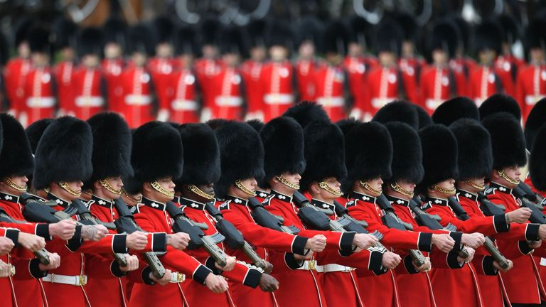 Soldiers makes their way to Horse Guards Parade for the annual event