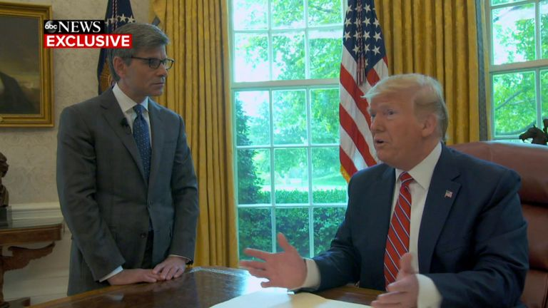 Donald Trump with ABC's chief anchor George Stephanopoulos. Pic: ABC