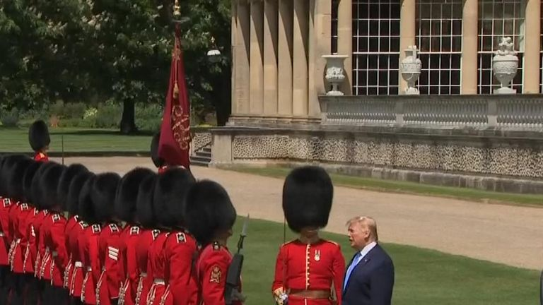 Trump inspecting the soldiers