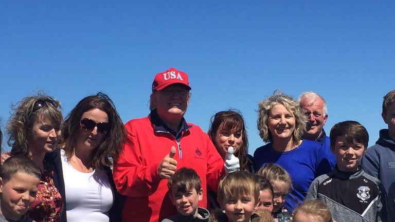 U.S. President Donald Trump meets schoolchildren on his golf course in Doonbeg, Ireland. Credit: Abbi Shanahan/Brian Shanahan
