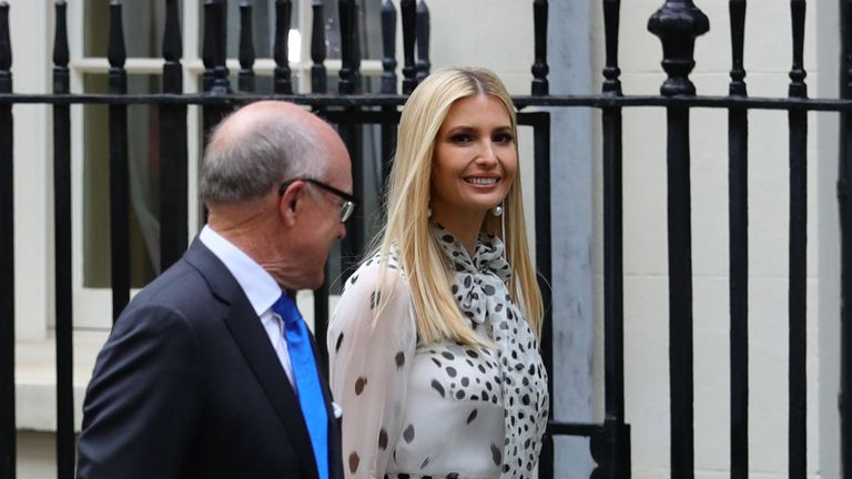 Ivanka Trump and US ambassador to the UK, Woody Johnson, arrive in Downing Street