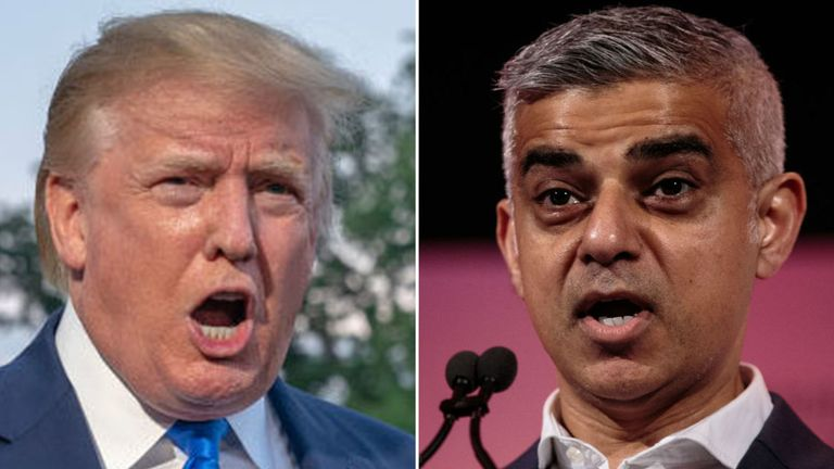 The US president took aim at the mayor of London before Air Force One landed on the runway at Stansted Airport.