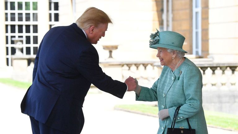 Queen Elizabeth II greets US President Donald Trump as he arrives for the Ceremonial Welcome at Buckingham Palace, London, on day one of his three day state visit to the UK. PRESS ASSOCIATION Photo. Picture date: Monday June 3, 2019. See PA story ROYAL Trump. Photo credit should read: Victoria Jones/PA Wire