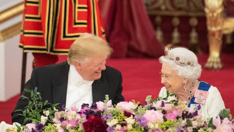 US President Donald Trump and Queen Elizabeth II during the State Banquet at Buckingham Palace, London, on day one of President Trump's three day state visit to the UK. PRESS ASSOCIATION Photo. Picture date: Monday June 3, 2019. See PA story ROYAL Trump. Photo credit should read: Dominic Lipinski/PA Wire