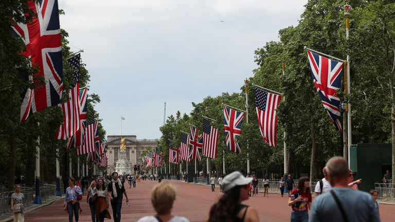 The US flag is lining The Mall leading up to Buckingham Palace