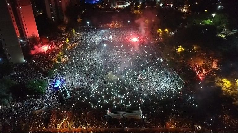 A huge crowd turned out to celebrate Mr Imamoglu's victory