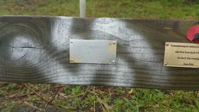 Swastikas were spray painted on a commemorative D-Day bench in Lincolnshire