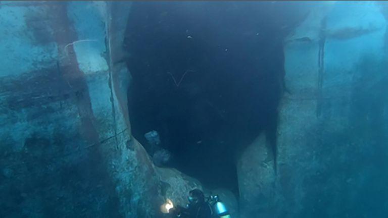 The Emirati vessel A. Michel suffered underwater damage in the attacks in the Port of Fujairah
