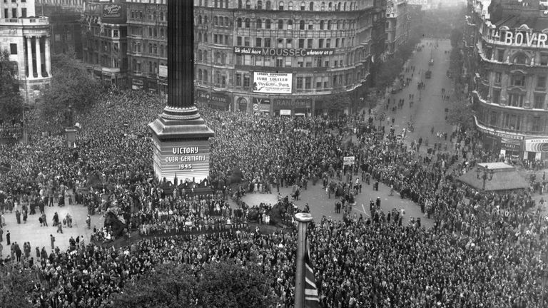 VE Day is celebrated by crowds in London in May 1945