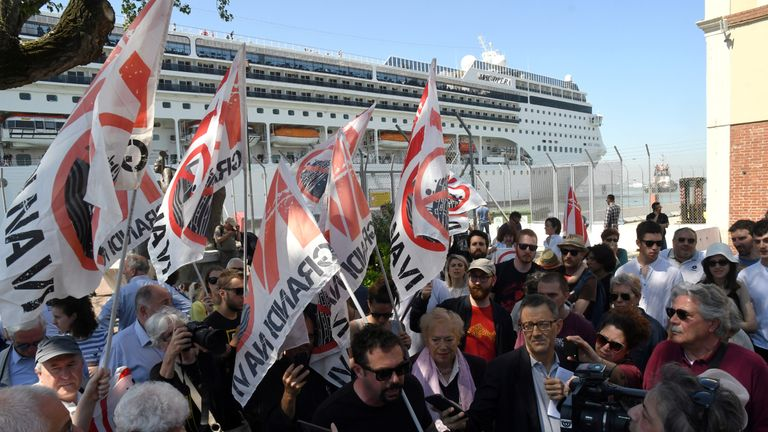 Venetian protesters are calling for an end to large ships travelling through the city
