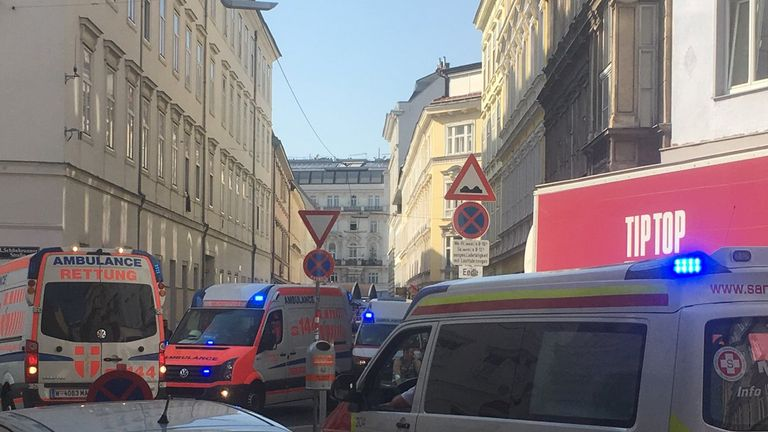 Ambulances at the scene of the partial building collapse in Vienna, Austria. Pic: Erich Ulrich/via Reuters