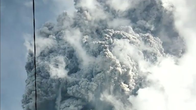 A volcanic ash cloud from Mount Sinabung hovers over Karo, North Sumatra. Pic: Sinarisa Sitepu via Reuters