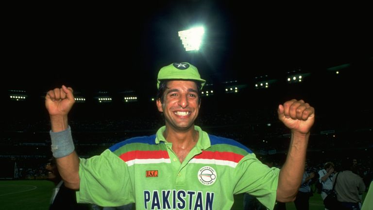 Wasim Akram of Pakistan celebrates after their victory in the World Cup final against England at Melbourne Cricket Ground in Australia.