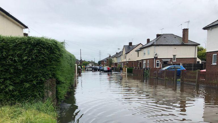 Flooding in Sandycroft, Deeside on Wednesday