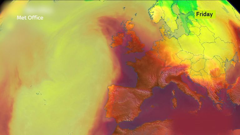 Temperatures across Europe could rise to 40C (104F) by the weekend