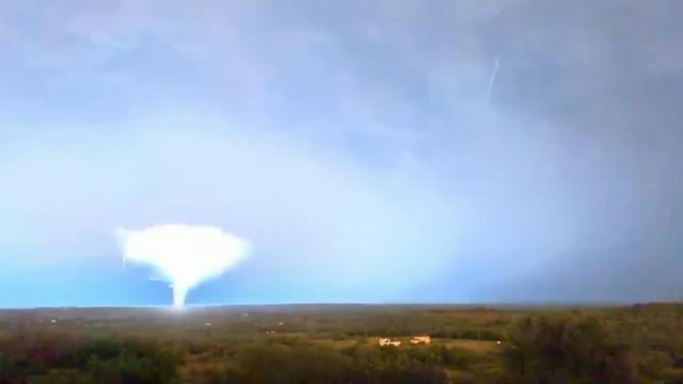 This video was shot near Austin, and shows extensive fork lightning light up the sky