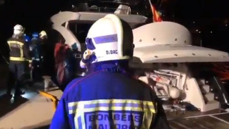 Former world heavyweight boxing champion Wladimir Klitschko and his family have been rescued from their motor yacht after it caught fire.