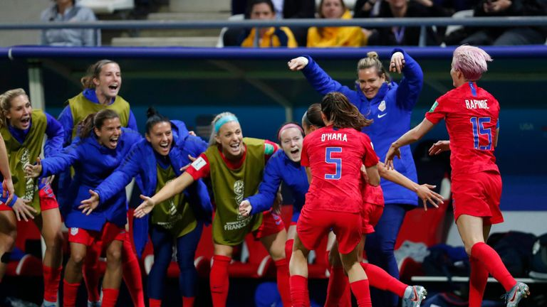 United States celebrate one of their record breaking 13 goals against Thailand