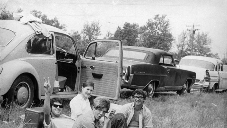 Revellers enjoy a picnic at the original 1969 Woodstock festival