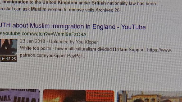"A search for ""Muslim immigration Britain"" on 25 April showed four videos"