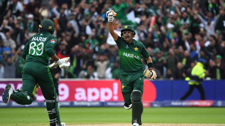 Babar Azam scored his first World Cup hundred
