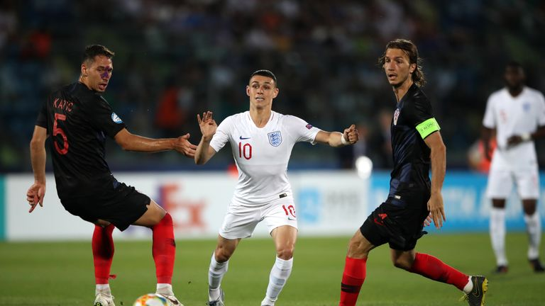 Phil Foden in action for England U21 against Croatia U21