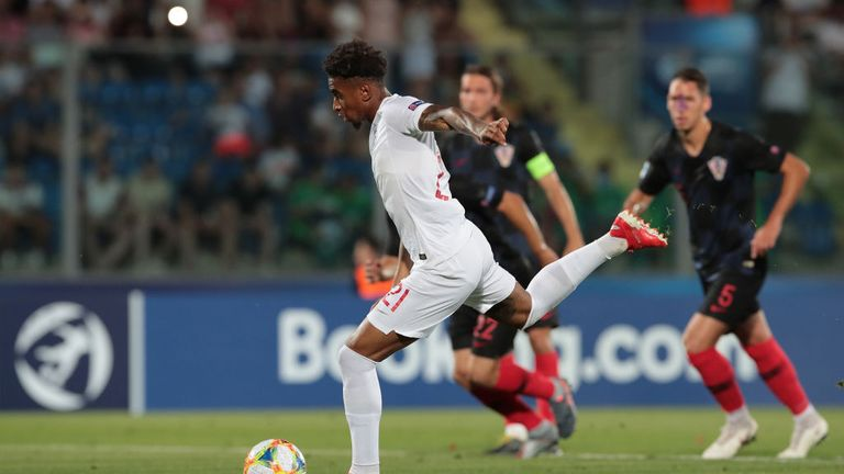 during the 2019 UEFA U-21 Group C match between Croatia and England at San Marino Stadium on June 24, 2019 in Serravalle, Italy.
