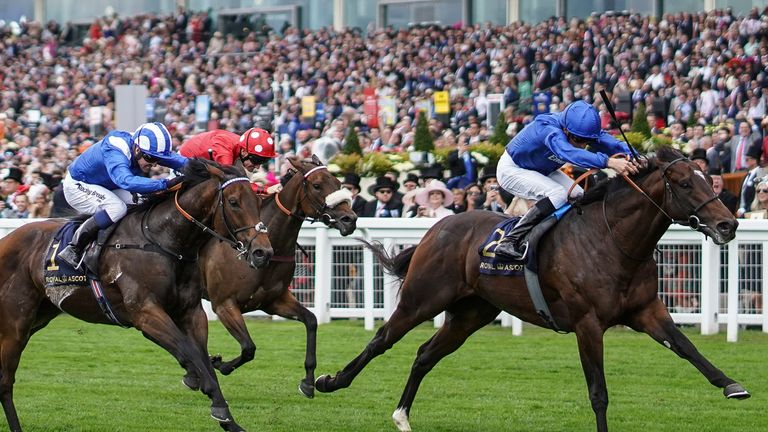 ASCOT, ENGLAND - JUNE 19: William Buick riding Blue Point (R) win The King...s Stand Stakes on day 1 of Royal Ascot at Ascot Racecourse on June 19, 2018 in Ascot, England. (Photo by Alan Crowhurst/Getty Images for Ascot Racecourse) *** Local Caption *** William Buick;Blue Point