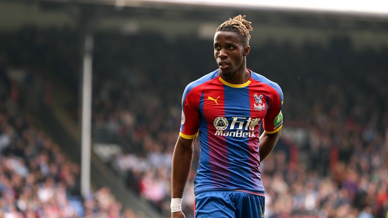Crystal Palace's Wilfried Zaha during a Premier League match vs Huddersfield Town at Selhurst Park