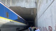 Passengers eventually left the train to wait outside. Pic: @meliss_houghton