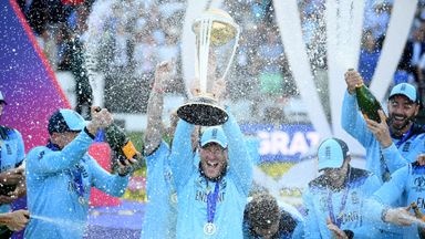 England lift Cricket World Cup trophy