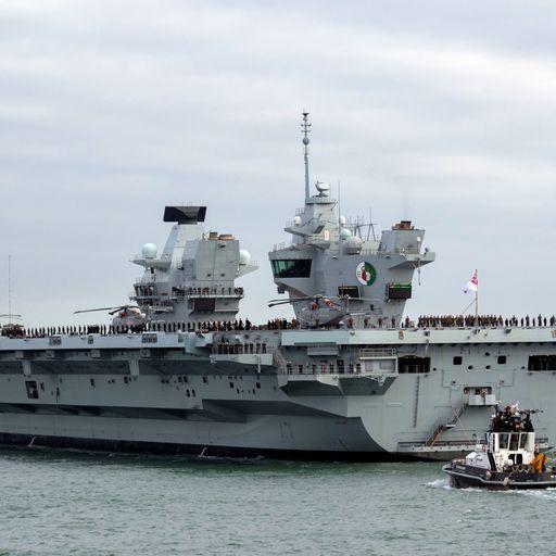 HMS Queen Elizabeth returns to port after leak on board