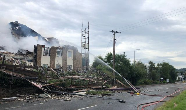 Fire-ravaged Premier Inn hotel in Bristol collapses onto road