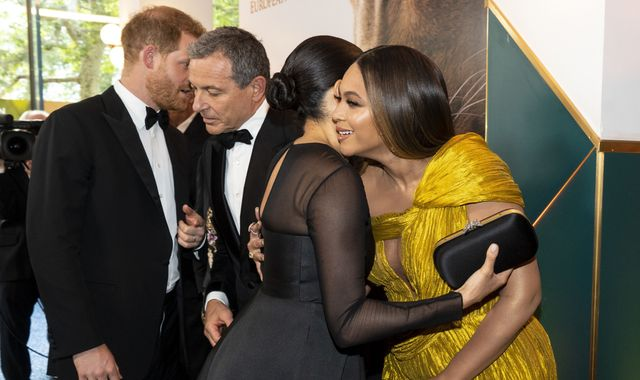 Beyonce tells Meghan 'we love you guys' at Lion King premiere