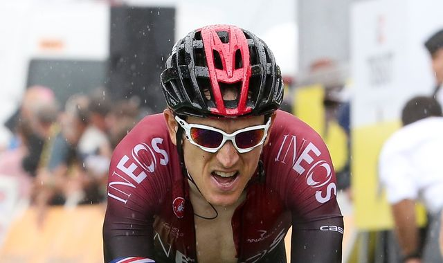 Geraint Thomas rides on after Tour de France stage 16 crash