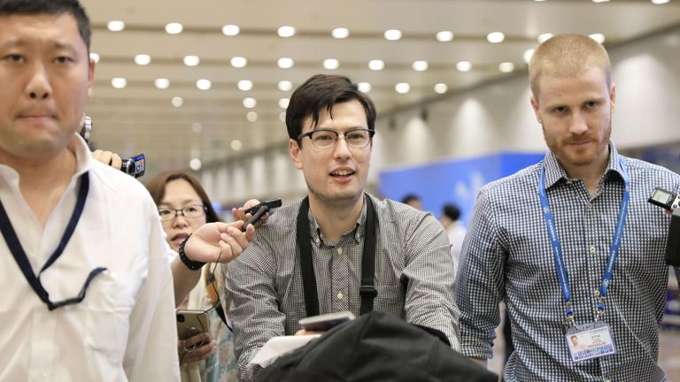 REFILE - UPDATING CAPTION ADVISORY An Australian student Alek Sigley, 29,  who was detained in North Korea, arrives at Beijing international airport in Beijing, China, July 4, 2019, in this photo taken by Kyodo. Mandatory credit Kyodo/via REUTERS ATTENTION EDITORS - THIS IMAGE WAS PROVIDED BY A THIRD PARTY. MANDATORY CREDIT. JAPAN OUT. NO COMMERCIAL OR EDITORIAL SALES IN JAPAN.  TPX IMAGES OF THE DAY
