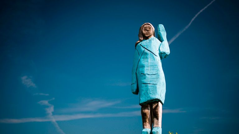 A picture taken on July 5, 2019 shows what conceptual artist Ales 'Maxi' Zupevc claims is the first ever monument of Melania Trump, set in the fields near town of Sevnica, US First Ladys hometown. - After Melania cake, Melania honey, and even Melania slippers, the Slovenian hometown of the US's first lady will now boast a statue of its most famous daughter -- albeit one which has faced decidedly mixed reviews. The life-size statue on the outskirts of Sevnica was inaugurated on July 5, 2019. (Photo by Jure Makovec / AFP) / RESTRICTED TO EDITORIAL USE - MANDATORY MENTION OF THE ARTIST UPON PUBLICATION - TO ILLUSTRATE THE EVENT AS SPECIFIED IN THE CAPTION        (Photo credit should read JURE MAKOVEC/AFP/Getty Images)