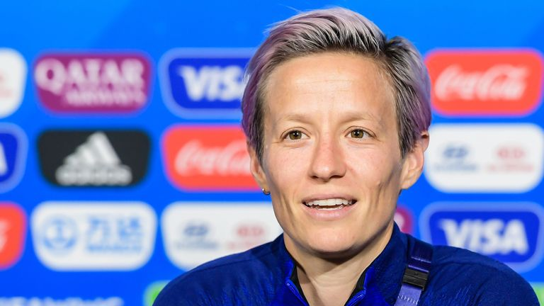 Megan Rapinoe of USA women during a press conference following the 2019 FIFA Women's World Cup France Final match between United States of America and Netherlands at Stade de Lyon on July 06, 2019 in Lyon, France(Photo by VI Images via Getty Images)