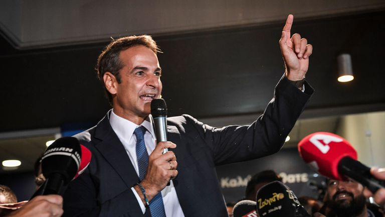Greece's newly elected Prime Minister and leader of conservative New Democracy party Kyriakos Mitsotakis, speaks to the press outside the party's headquarters after the official results of the elections, in Athens on July 7, 2019. - Greek Prime Minister Alexis Tsipras conceded defeat in a general election to Kyriakos Mitsotakis, head of the conservative New Democracy party, his office said. Leftist Tsipras called Mitsotakis to congratulate him, a source in the prime minister's office told AFP, with New Democracy on track to score a landslide victory according to early results. (Photo by LOUISA GOULIAMAKI / AFP)        (Photo credit should read LOUISA GOULIAMAKI/AFP/Getty Images)