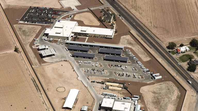 CLINT, TEXAS - JUNE 28:  An aerial view of the U.S. Border Patrol facility where attorneys reported that detained migrant children had been held in disturbing conditions on June 28, 2019 in Clint, Texas. Acting commissioner of U.S. Customs and Border Protection (CBP) John Sanders submitted his resignation in the wake of the scandal. The House voted yesterday to send a $4.6 billion emergency measure to President Donald Trump to provide aid for migrants detained at the southern border.  (Photo by Mario Tama/Getty Images)