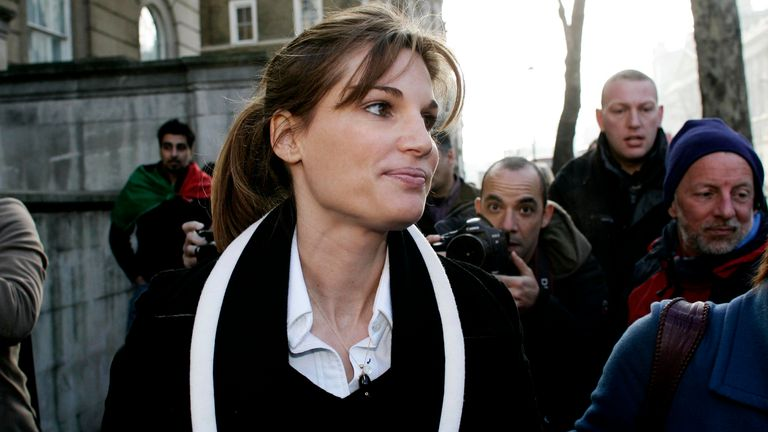 Jemima Khan on her way to  protest against a visit by  President Musharraf during a demonstration outside Downing Street