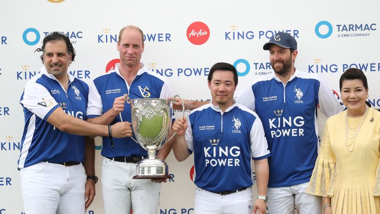 The Duke of Cambridge and his team after winning the Khun Vichai Srivaddhanaprabha Memorial Polo Trophy during the King Power Royal Charity Polo Day at Billingbear Polo Club, Wokingham, Berkshire.