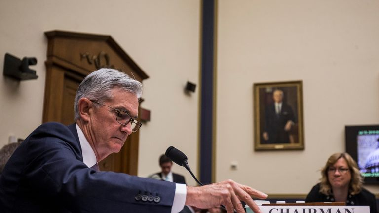 WASHINGTON, DC - JULY 10: Federal Reserve Chairman Jerome Powell arrives to testify during a House Financial Services Committee hearing on Capitol Hill on July 10, 2019 in Washington, DC. Powell is testifying on monetary policy and the state of the economy. (Photo by Zach Gibson/Getty Images)