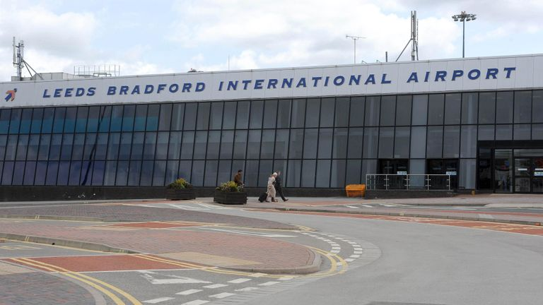Passengers arrive at Leeds Bradford Airport, which has been declared a no-fly zone from 1pm by the Civil Aviation Authority due to a cloud of volcanic ash from Iceland.