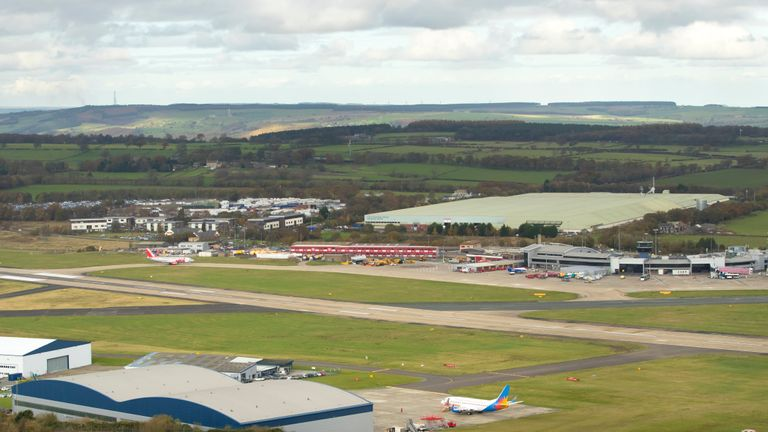 An aerial view of Leeds Bradford Airport in Yorkshire.