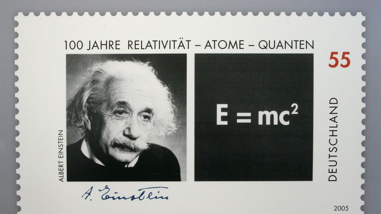 Picture shows a German 55 euro cents special edition stamp commemorating the the 100th anniversary of the publication of late German-born physicist Einstein's Theory of Relativity in Berlin.  Picture shows a German 55 euro cents special edition stamp commemorating the the 100th anniversary of the publication of late German-born physicist Albert Einstein's Theory of Relativity in Berlin June 15, 2005. The stamp will be available in July 2005. REUTERS/Arnd Wiegmann