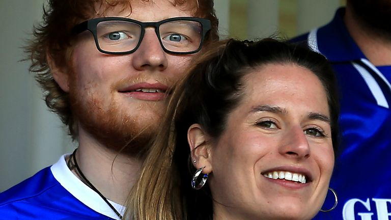 Ed Sheeran and Cherry Seaborn at an Ipswich Town match