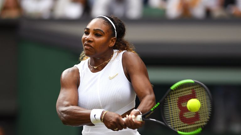 LONDON, ENGLAND - JULY 13: Serena Williams of The United States plays a backhand in her Ladies' Singles final against Simona Halep of Romania during Day twelve of The Championships - Wimbledon 2019 at All England Lawn Tennis and Croquet Club on July 13, 2019 in London, England. (Photo by Shaun Botterill/Getty Images)